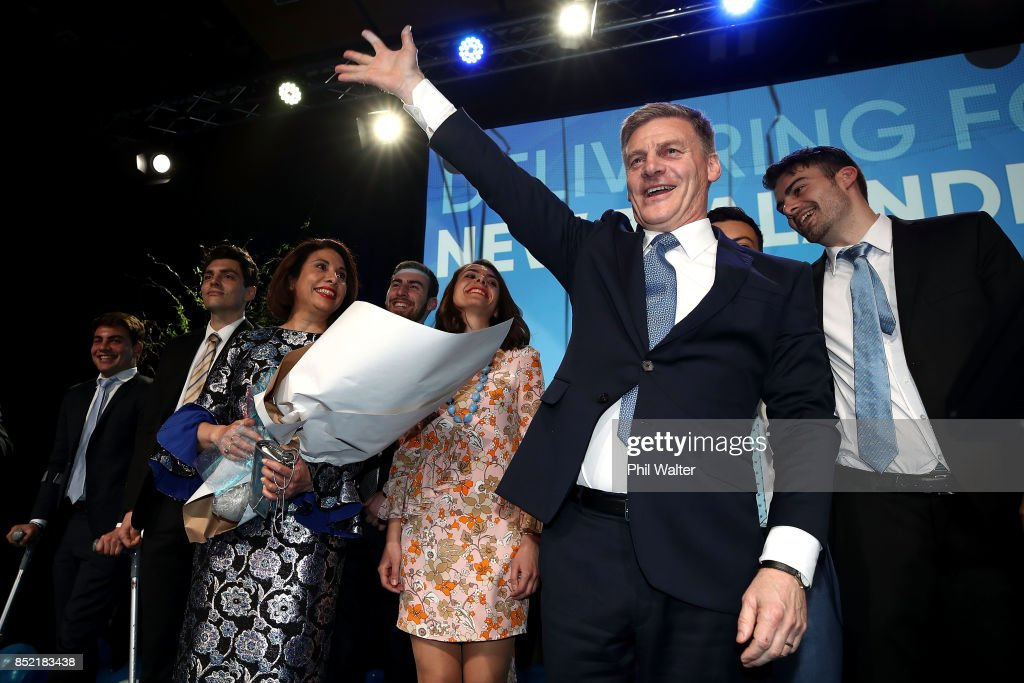 National Party leader Bill English waves to his supporters on September 23, 2017 in Auckland, New Zealand. With results too close to call, no outright winner between National's Bill English and Labour's Jacinda Ardern was able to be announced.