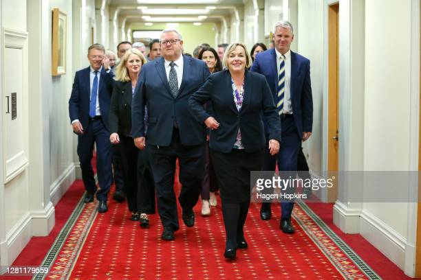 National Party Leader Judith Collins leads her team into a press conference at Parliament on October 20, 2020 in Wellington, New Zealand. Labour's...