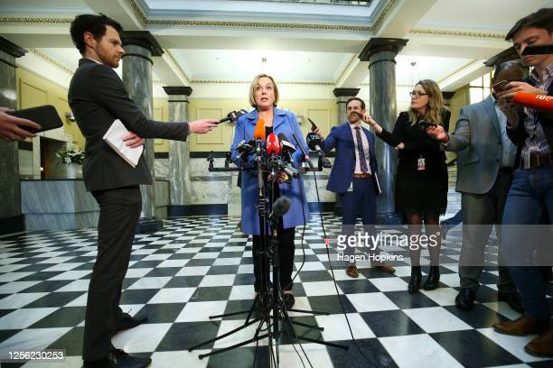 National Party Leader Judith Collins speaks to media during a press conference at Parliament on July 15 2020 in Wellington New Zealand Judith Collins...
