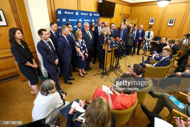 National Party Leader Judith Collins speaks to media during a press conference at Parliament on October 20, 2020 in Wellington, New Zealand. Labour's...