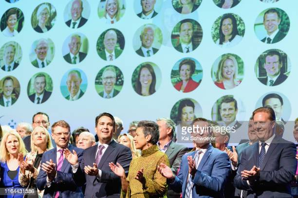 National Party Leader Simon Bridges and Deputy Leader Paula Bennett look on during the 83rd Annual National Party Conference at Christchurch Town...