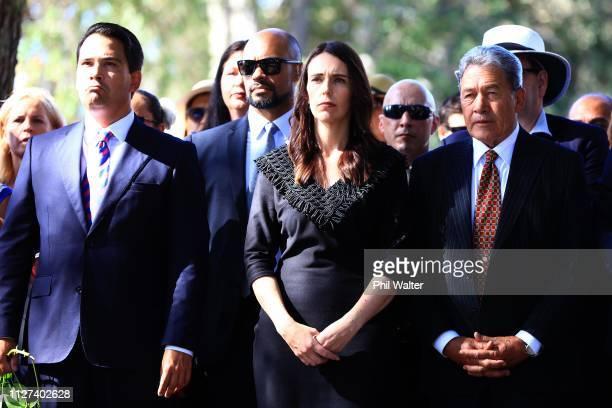 National Party leader Simon Bridges, Prime Minister Jacinda Ardern and Deputy Prime Minister Winston Peters arrive for a powhiri at Waitangi on...