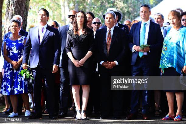 National Party leader Simon Bridges Prime Minister Jacinda Ardern Deputy Prime Minister Winston Peters and Green Party leader James Shaw arrive for a...