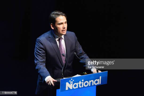 National Party Leader Simon Bridges speaks during the 83rd Annual National Party Conference at Christchurch Town Hall on July 27 2019 in Christchurch...