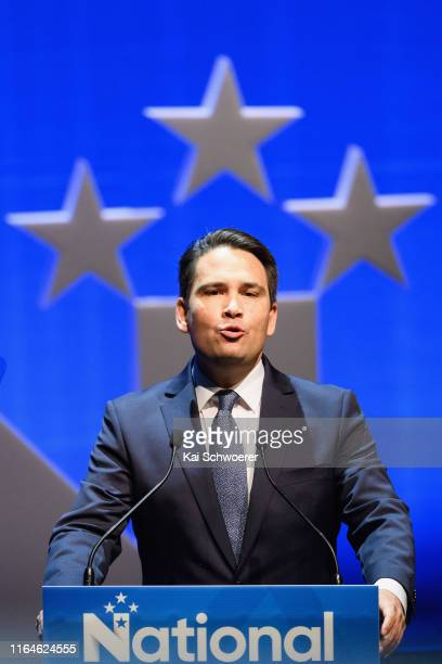 National Party Leader Simon Bridges speaks during the 83rd Annual National Party Conference at Christchurch Town Hall on July 28 2019 in Christchurch...