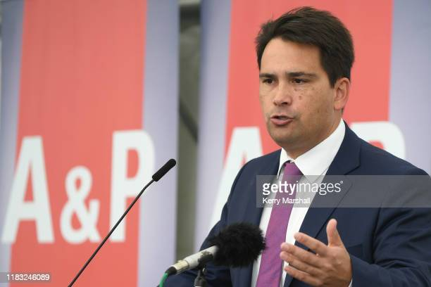 National Party leader SImon Bridges speaks to farmers on October 25 2019 in Hastings New Zealand The 2019 New Zealand Royal AP Show is an annual...