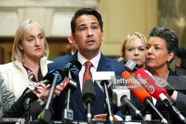 National Party leader Simon Bridges speaks to media after a caucus meeting at Parliament on October 16 2018 in Wellington New Zealand National MP...