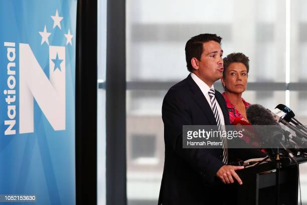 National Party leader Simon Bridges speaks to the media with deputy party leader Paula Bennett at Sky City Convention Centre on October 15 2018 in...