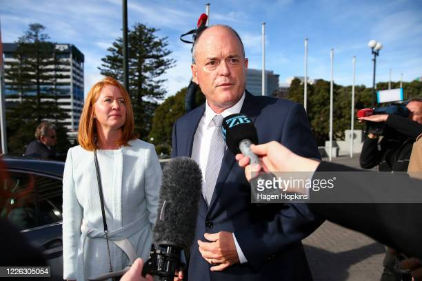 National Party leadership challenger Todd Muller and wife Michelle arrive prior to a caucus meeting at Parliament on May 22 2020 in Wellington New...