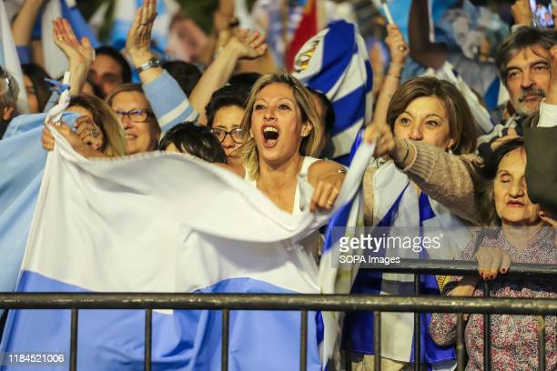 National Party supporters are seen during the speech of the presidential candidate Luis Lacalle in Montevideo. This Sunday the Uruguayans voted for...