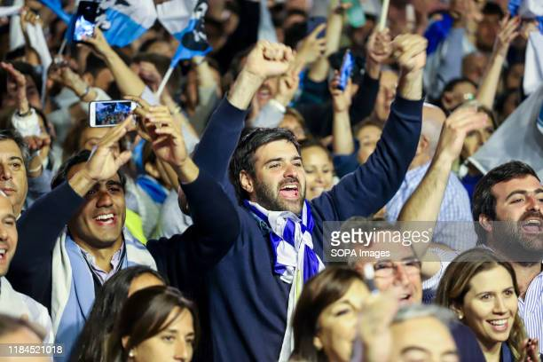 National Party supporters during the speech of the presidential candidate Luis Lacalle in Montevideo. This Sunday the Uruguayans voted for the second...