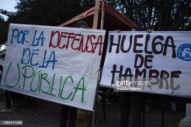 National Pedagogical University students starts a 72hour hunger strike demanding the Colombian government to improve financial resources for public...