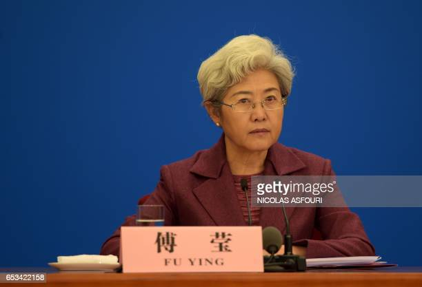 National People's Congress spokeswoman Fu Ying attends a press conference after the closing ceremony of the annual session of China's legislature the...