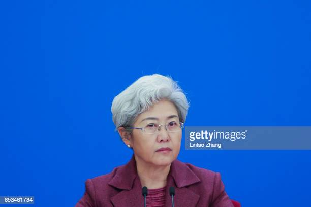 National People's Congress spokeswoman Fu Ying hosts the Premier Li Keqiang's press conference for the Fifth Session of the 12th National People's...