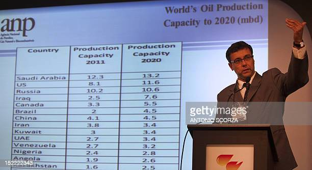 National Petroleum Agency representative Brazilian Helder Queiroz Pinto delivers a speech as he takes part in the panel Petroleum Geopolitics and the...