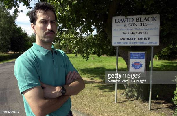 National Pig Association ViceChairman James Black at the entrance of his farm in Stowmarket Suffolk Black is preparing to put up signs warning the...