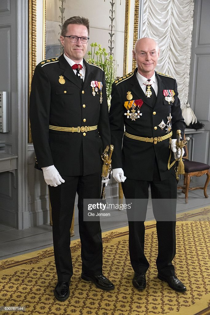 National Police Chief Jens Henrik Hojbjerg (R) and Copenhagen Police Director Thorkild Fogde arrive to Queen Margrethe of Denmark's New Year's reception at Amalienborg on January 1, 2017 in Copenhagen, Denmark.