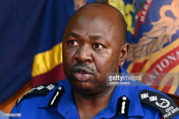 National Police Service spokesman Charles Owino speaks during a press conference on April 12, 2019 on abduction of two Cuban doctors near Kenya's...
