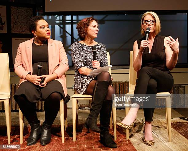 National political reporter for NY Times Yamiche Alcindor staff writer for NY Times Magazine Emily Bazelon and Kirsten Powers speak during NYT Mag...