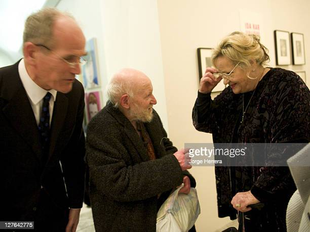 National Portrait Gallery director Sandy Nairne artist Gustav Metzger and actress director and producer Sylvia Syms during the private view of 'Ida...