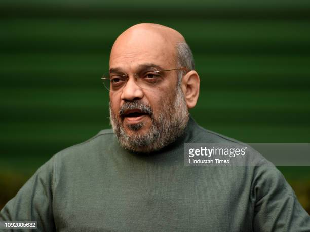National President Amit Shah addresses media after Union Finance Minister Piyush Goyal presented Interim Budget2019 in Parliament at his residence on...