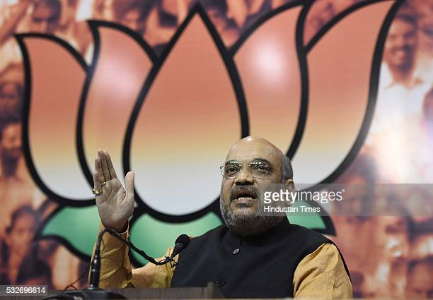 National President Amit Shah addresses the media after winning Assam Assembly election 2016 as the election results of five States Assam Tamil Nadu...