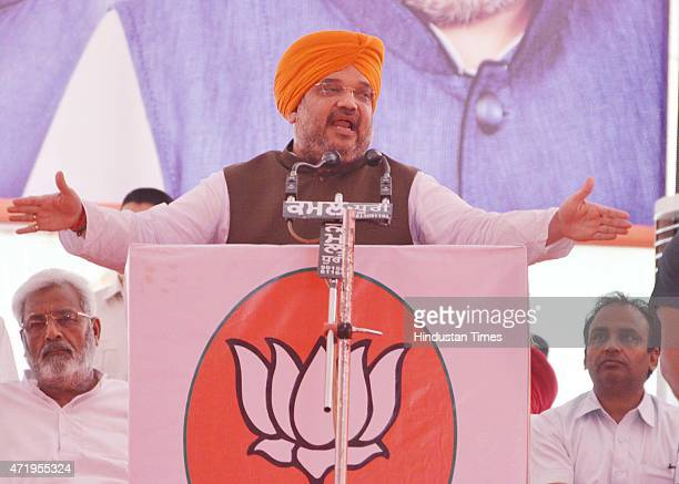 National President Amit Shah addressing during the BJP active members conference held at Ranjeet Avenue on May 2, 2015 in Amritsar, India. Shah said...