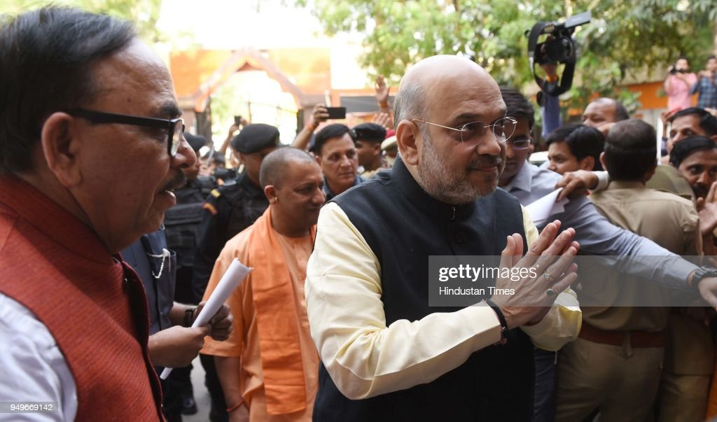 BJP President Amit Shah Visits Party Office In Lucknow