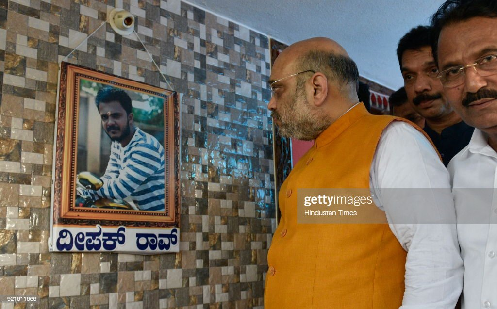 BJP national president Amit Shah and BJP Karnataka state president and party chief ministerial candidate Yeddyurappa meets the family members of Deepak Rao on February 20, 2018 in Surathkal, India. Deepak Rao was a Bajrang Dal activist who was murdered by fringe elements on January 3.