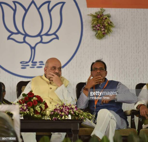 National President Amit Shah and Madhya Pradesh Chief Minister Shivraj Singh Chouhan during BJP state level meeting organised for upcoming Madhya...