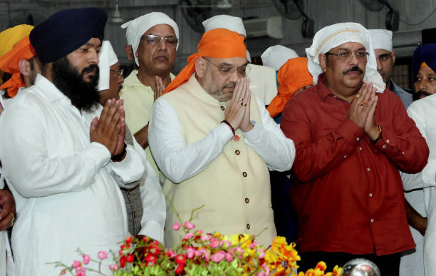 National President Amit Shah and Punjab BJP President Shwait Malik at Gurudwara sector 44 on June 7 2018 in Chandigarh India
