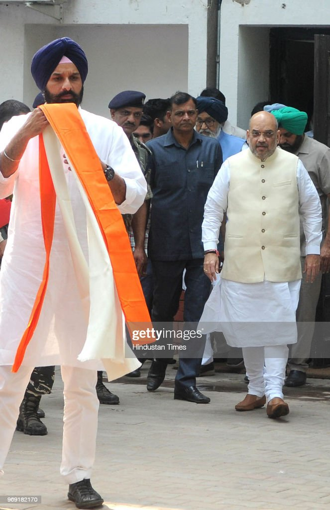 National President Amit Shah arrives to meet former Chief Minister Parkash Singh Badal at MLA Hostel in Sector 3 on June 7 2018 in Chandigarh India...
