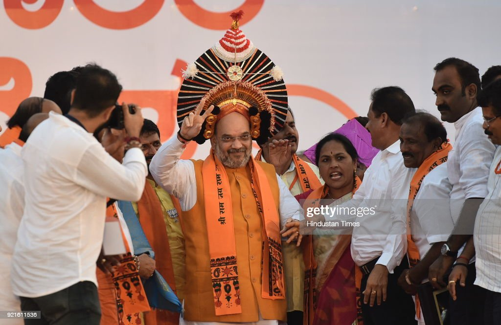 BJP national President Amit Shah being felicitated during Fishermen's convention at Maple beach on February 20, 2018 in Udupi, India. Ahead of the assembly polls scheduled to be held in May, Shah launched the BJPs poll campaign in the communally sensitive Dakshina Kannada and Uttara Kannada districts in coastal Karnataka, where the party has a strong presence and is trying to consolidate it further.
