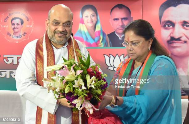 National President Amit Shah being welcomed by CM Vasundhara Raje at party office on the first day of his threeday visit on July 21 2017 in Jaipur...