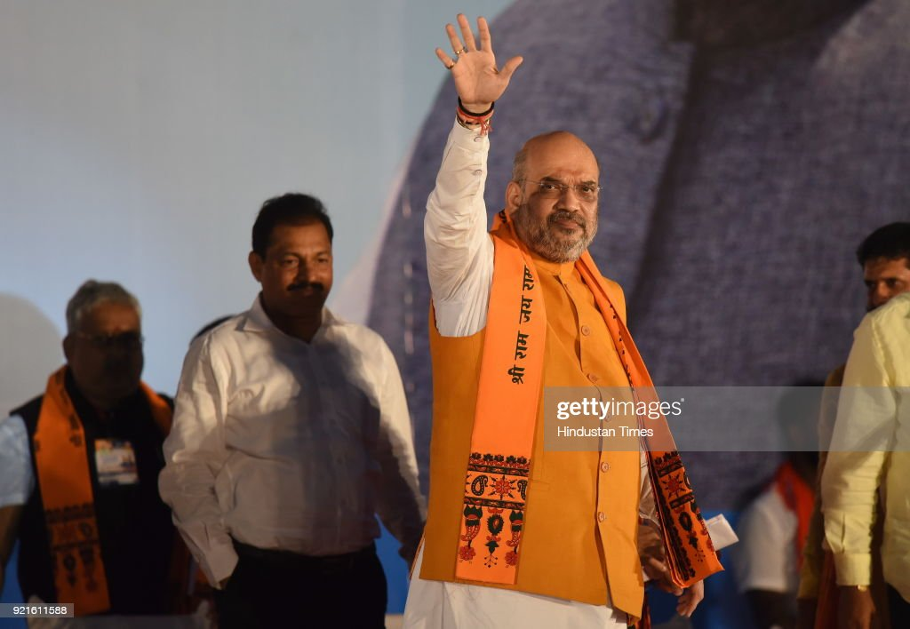 BJP national President Amit Shah during Fishermen's convention at Maple beach on February 20, 2018 in Udupi, India. Ahead of the assembly polls scheduled to be held in May, Shah launched the BJPs poll campaign in the communally sensitive Dakshina Kannada and Uttara Kannada districts in coastal Karnataka, where the party has a strong presence and is trying to consolidate it further.