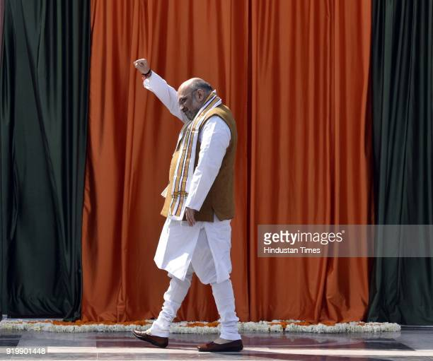 National President Amit Shah during the inauguration of BJP headquarter building at 6A Deen Dayal Upadhyay Marg on February 18 2018 in New Delhi...