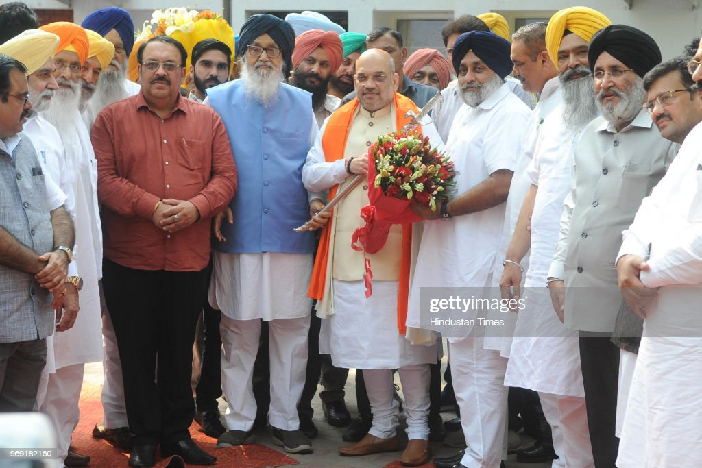 National President Amit Shah meets former Chief Minister Parkash Singh Badal SAD President Sukhbir Singh Badal and other leaders at MLA Hostel in...