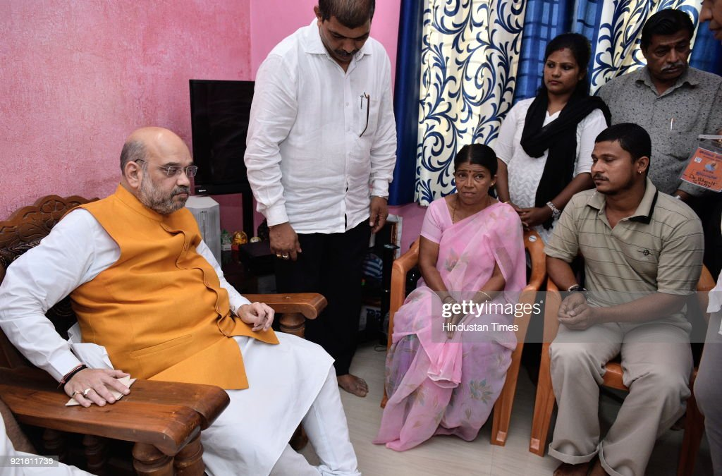 BJP national president Amit Shah meets the family members of Deepak Rao on February 20, 2018 in Surathkal, India. Deepak Rao was a Bajrang Dal activist who was murdered by fringe elements on January 3.