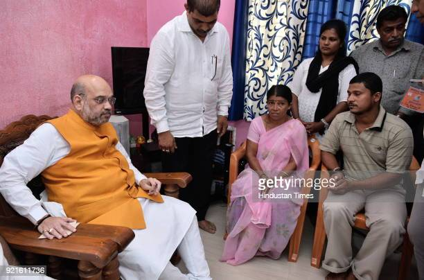 BJP national president Amit Shah meets the family members of Deepak Rao on February 20 2018 in Surathkal India Deepak Rao was a Bajrang Dal activist...