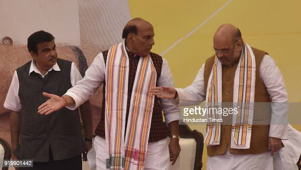 National President Amit Shah Union Home Minister Rajnath Singh and Minister of Road Transport and Highways Nitin Gadkari during the inauguration of...