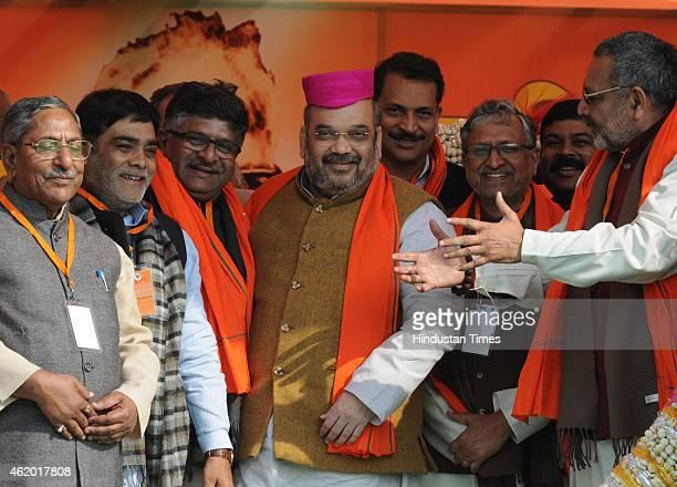 National President Amit Shah with Shushil Modi Ravi Shankar Prasad Ram Kripal Yadav Rajiv Pratap Ruddy Ashwini Chaubey and other BJP leaders during...