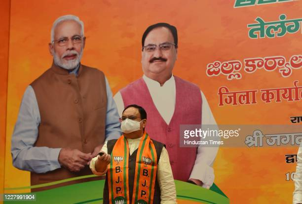 National President J P Nadda virtually lays foundation of nine District BJP offices in Telangana from Party Headquarters on August 10, 2020 in New...
