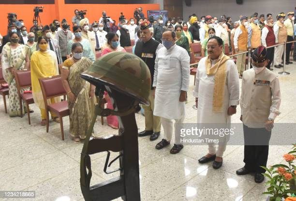 National President JP Nadda with Bharatiya Janata Party National General Secretary and Rajya Sabha MP Arun Singh and others after pay floral tributes...