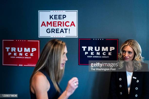 National Press Secretary Kayleigh McEnany listens as Lara Trump speaks at a Women for Trump discussion at Tishs Restaurant on Thursday Jan 16 2020 in...