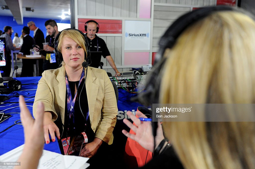 National Press Secretary Kirsten Kukowski talks with Julie Mason during an episode of Press Pool with Julie Mason on SiriusXM POTUS at Quicken Loans Arena on July 20, 2016 in Cleveland, Ohio.