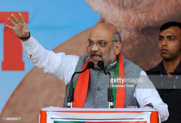 National Prsident Amit Shah addresses an election rally in support of party candidate Nitin Gadkari ahead of the Lok Sabha polls on April 9 2019 in...