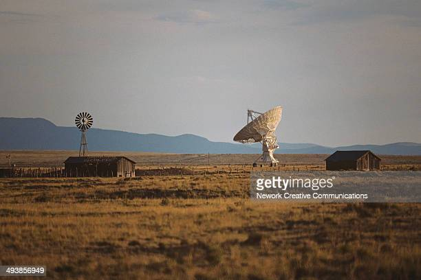 National Radio Astronomy Observatory and farm buildings near Socorro, New Mexico