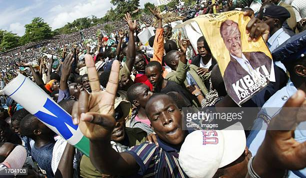 National Rainbow Coalition party supporters celebrate the election of Mwai Kibaki as Kenya's new president December 30 2002 in Nairobi Kenya Kibaki...