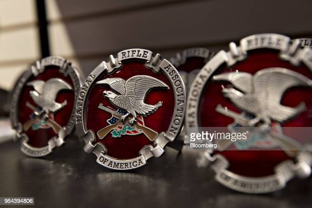 A National Rifle Association logo hitch cover sits on display ahead of the NRA annual meeting in Dallas Texas US on Thursday May 3 2018 When the NRA...