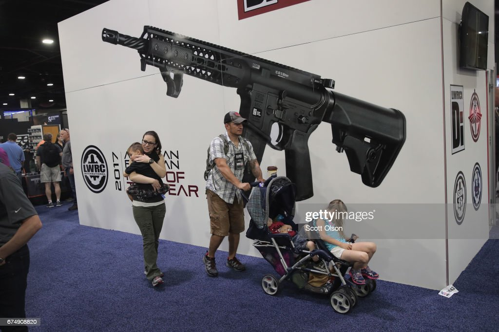 National Rifle Association members visit exhibitor booths at the 146th NRA Annual Meetings & Exhibits on April 29, 2017 in Atlanta, Georgia. With more than 800 exhibitors, the convention is the largest annual gathering for the NRA's more than 5 million members.